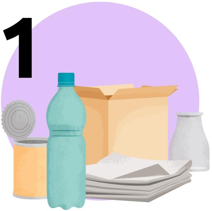 Put only your recyclable materials in the wheeled bin provided by your municipality. Material deposited outside the bin will not be collected (excluding special cardboard collection, when announced).