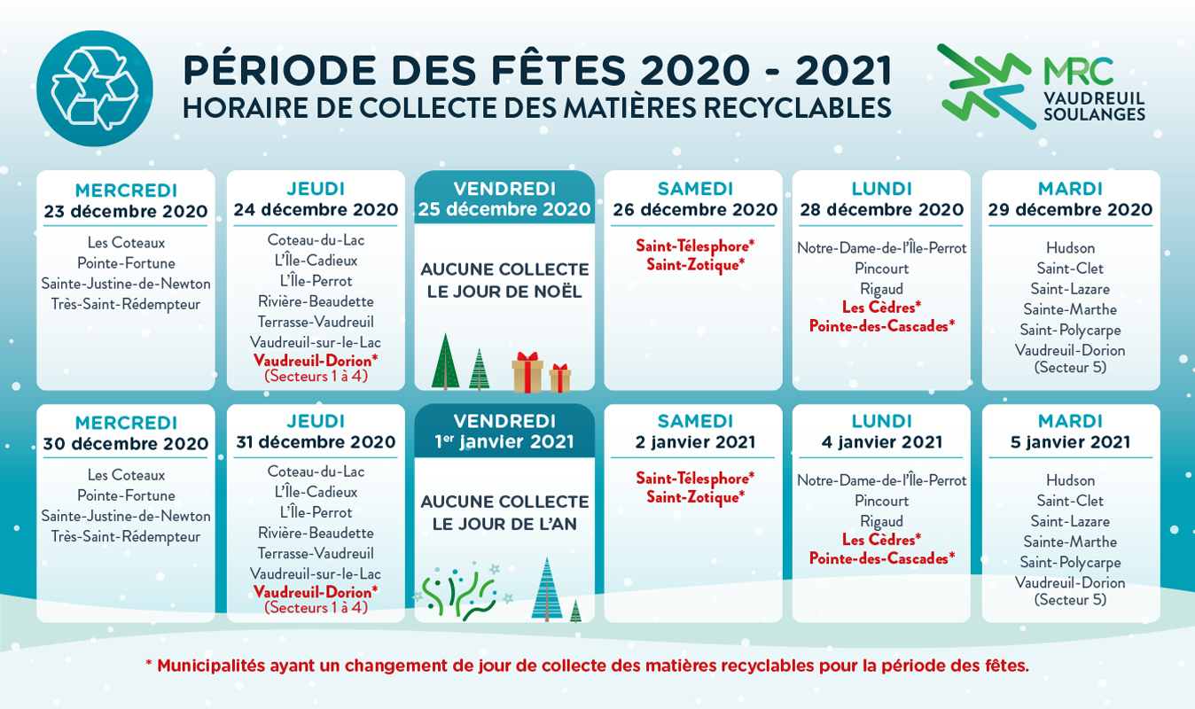 Horaire des fêtes de la collecte du recyclage